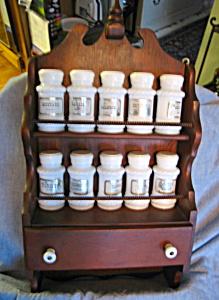 wood vintage spice rack and spice jars