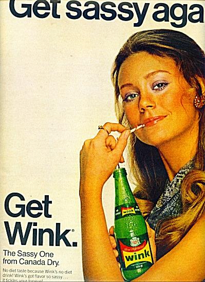 1970 WINK Soda Drink AD Model Karen Graham 1970