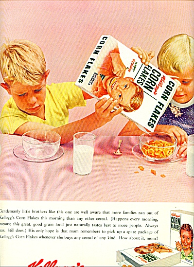1955 Kelloggs Corn Flakes AD Norman Rockwell Norman