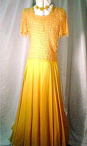 1940s Mustard Colored Evening DressGown Fab Party And