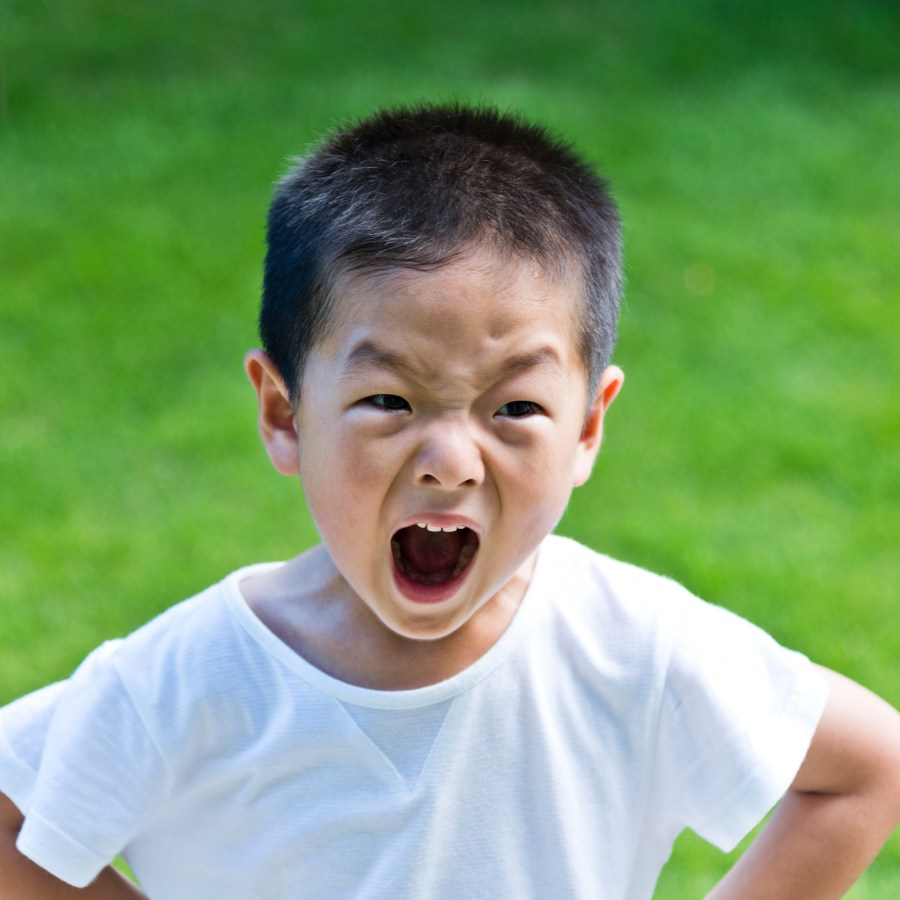 little boy angry and shouting.
