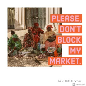 African market women selling their wares on the street
