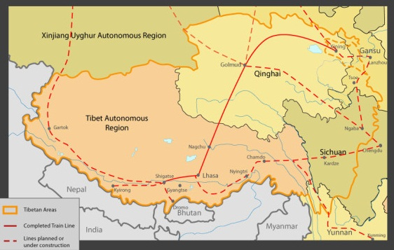 New strategic rail network to Tibet's borders. (Courtesy: savetibet ...