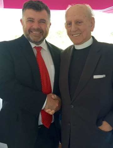 """Bishop Steven was delighted to meet with his old minister Revd. David Caldwell on a visit to Wales in 2016. Revd Caldwell was the minister of the church where he became a Christian at age 15. Bishop Steven commented """"Reverend Caldwell is an inspiration, full of life both then and now, a life dignified with the filling of the Holy Spirit. What a joy it is for me personally to welcome such an inspirational figure to join TICCN."""""""