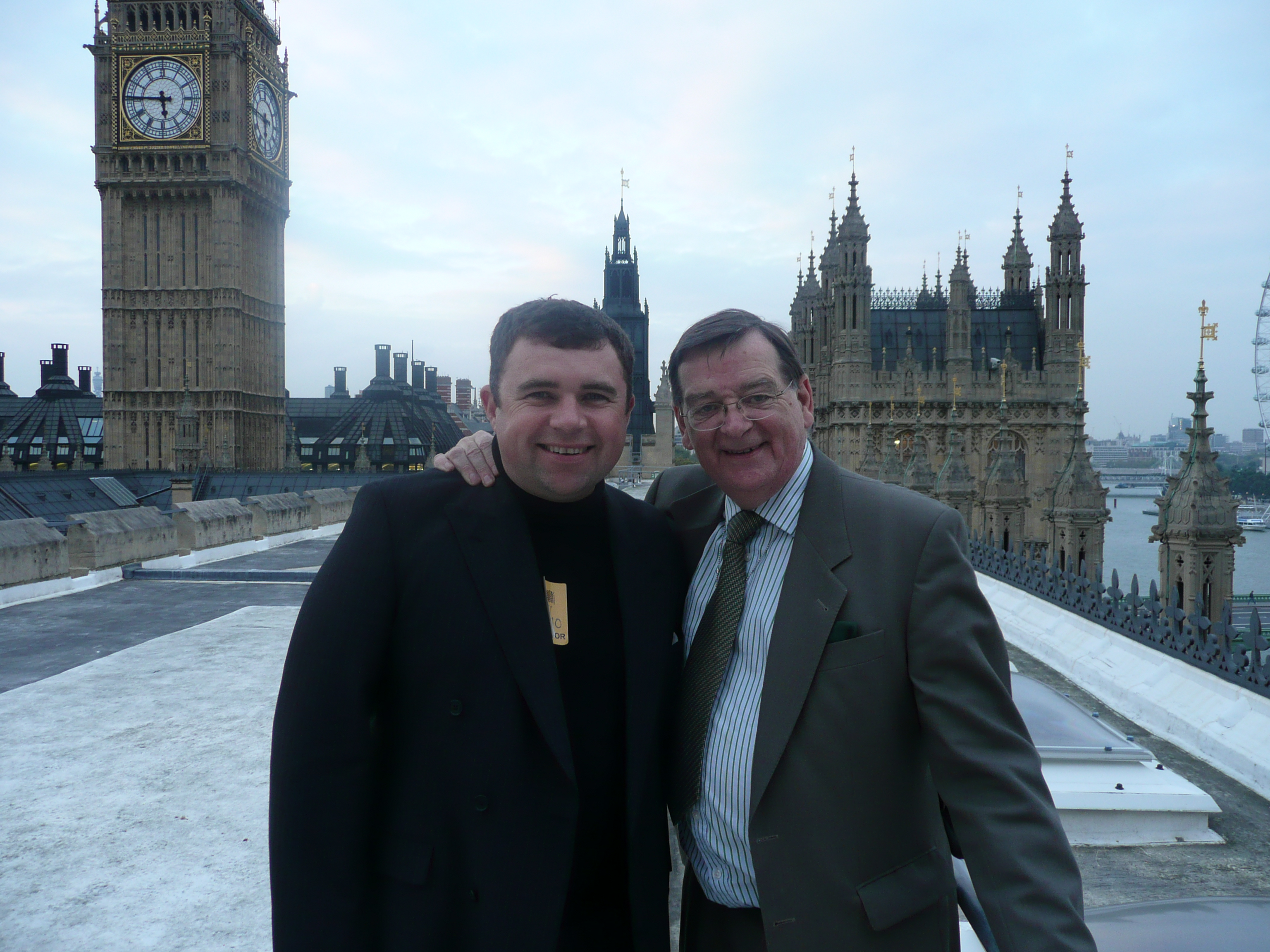 Bishop Steven Evans with Lord Leslie Griffiths above The House of Lords, London
