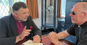 Bishop Steven Evans with Pastor Michael Fleming