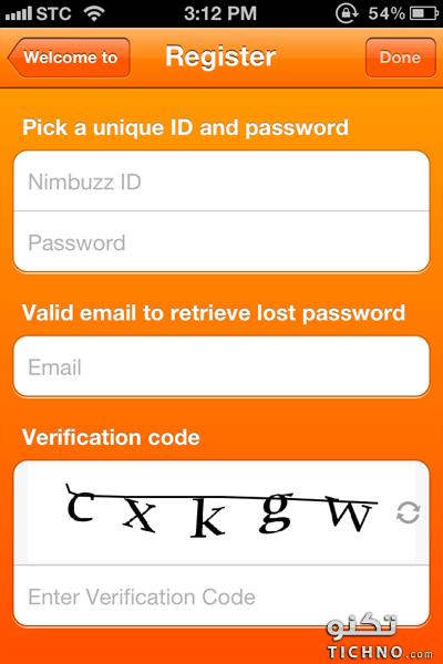 how to register nimbuzz app - شرح كيفية التسجيل في برنامج نيم باز