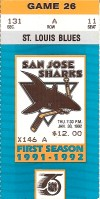 1992 San Jose Sharks ticket stub vs Blues