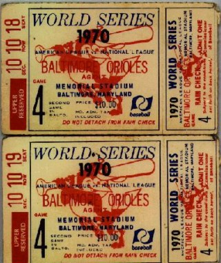 1970 World Series Reds at Orioles stub