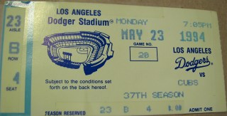 1994 ticket stub Chicago Cubs 6 Los Angeles Dodgers 3