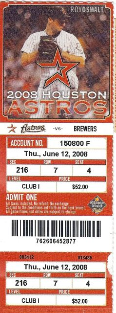 Brewers at Astros 2008 stub