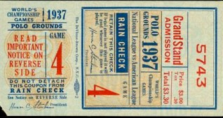 1937 World Series Yankees at Giants stub