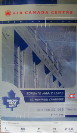Canadiens at Maple Leafs 1999 ACC opener stub