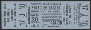1975 AHL Syracuse Eagles stub