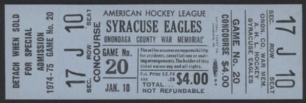 1975 AHL Syracuse Eagles unused ticket vs New Haven