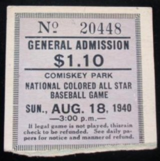 1940 National Colored All-Star Game  stub