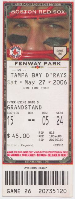 2006 Devil Rays at Red Sox stub