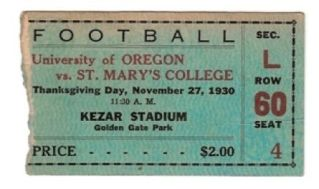 1930 NCAAF Oregon at St Marys Kezar Stadium  stub
