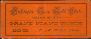 1879 Dubuque Red Stockings stub