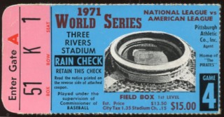 1971 World Series Game 4 ticket stub Orioles at Pirates