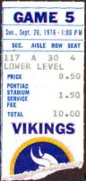 1976 Vikings at Lions ticket stub