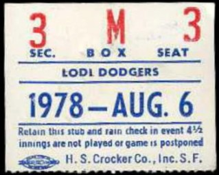 1978 MiLB Cal League Lodi Dodgers stub