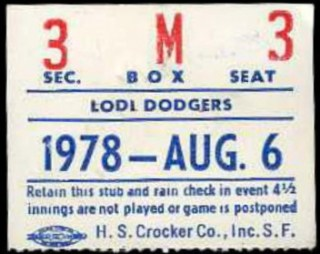 1978 Lodi Dodgers ticket stub