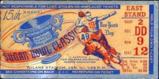 1949 Sugar Bowl  Oklahoma vs North Carolina stub