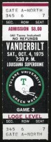 1975 NCAAF Vanderbilt at Tulane ticket stub