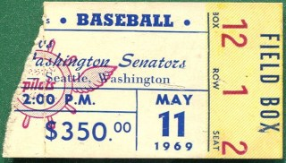 1969 Senators at Pilots stub