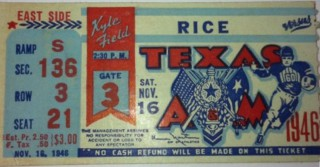 1946 NCAAF Rice at Texas A and M