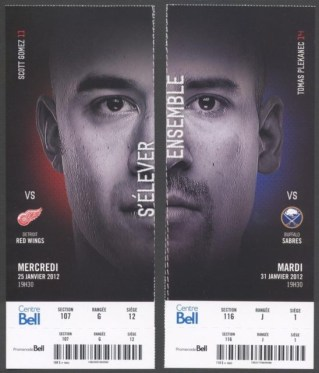 2012 Red Wings at Canadiens stub