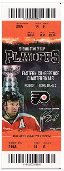 2012 Playoffs Rd 1 Gm 4 Penguins at Flyers stub