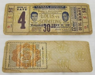 1938 JOE LOUIS vs. MAX SCHMELING stub