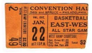 1960 NBA All Star Game Philadelphia stub