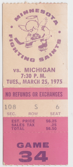 1975 WHA Stags at Fighting Saints stub