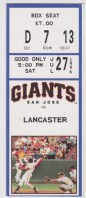 1996 San Jose Giants ticket stub vs Lancaster