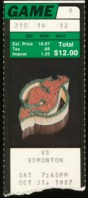 1987 Oilers at Devils ticket stub Matchstick logo