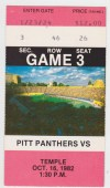 1982 NCAAF Temple at Pittsburgh