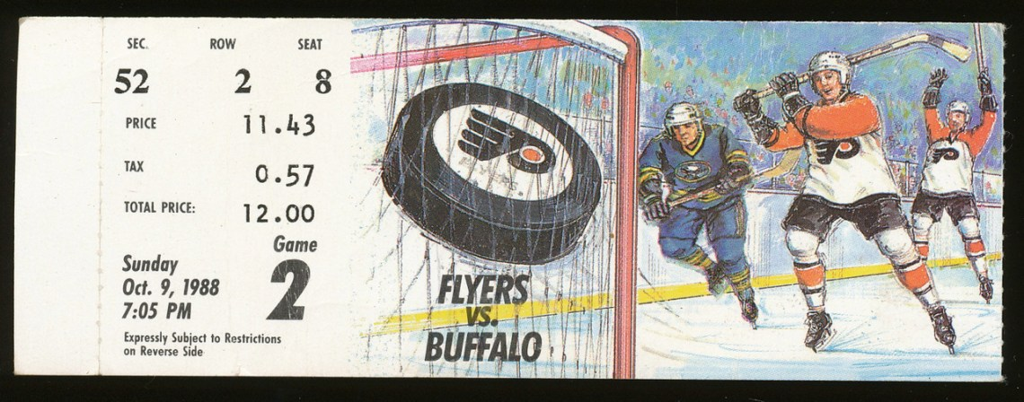 1988 Philadelphia Flyers ticket stub vs Buffalo