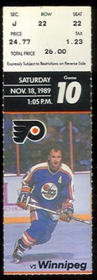 1989 Philadelphia Flyers ticket stub vs Winnipeg