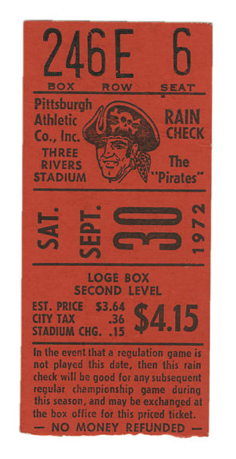 Clemente 3000th hit and final game  stub