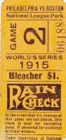 1915 World Series Game 4 ticket stub Phillies at Red Sox