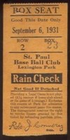 1931 St. Paul Saints ticket stub