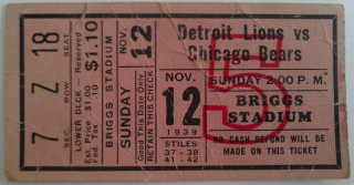 1939 Bears at Lions ticket stub