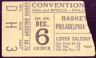 1959 Pistons at Warriors ticket stub