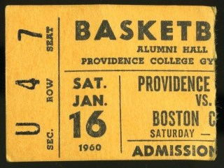 1960 NCAAMB Boston College at Providence ticket stub