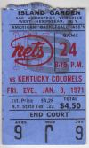 1971 ABA Colonels at Nets ticket stub