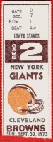 1973 Giants at Browns ticket stub