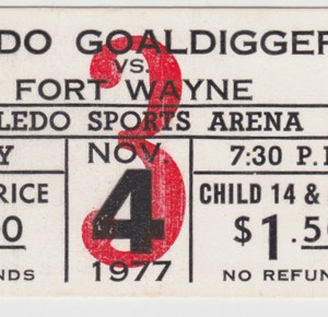 1977 IHL Toledo Goaldiggers ticket stub vs Ft. Wayne for sale